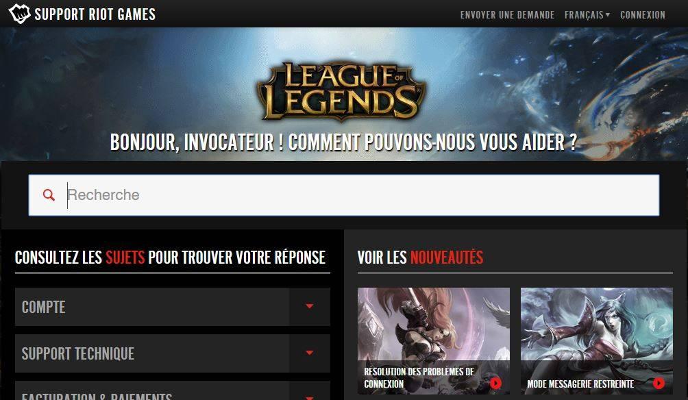 Le support de League of Legends met en place des vidéos d'aide